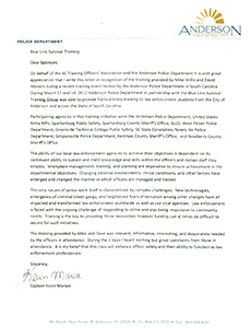 Anderson PD SC Letter of Testimonial