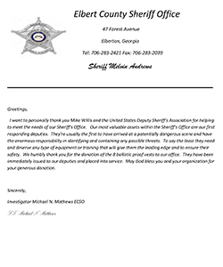 Elbert County Sheriff Office GA letter of testimonial